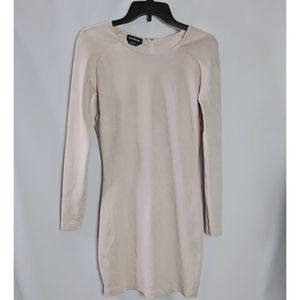 Bebe Long Sleeve Faux Suede Tan Pink Dress Sz XL